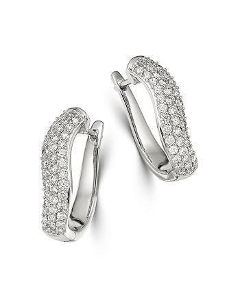 Bloomingdale's - Pavé Diamond Hoop Earrings in 14K White Gold, 1 ct. t.w. - 100% Exclusive