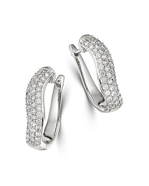 Bloomingdale's Pave Diamond Hoop Earrings in 14K White Gold, 1 ct. t.w. - 100% Exclusive