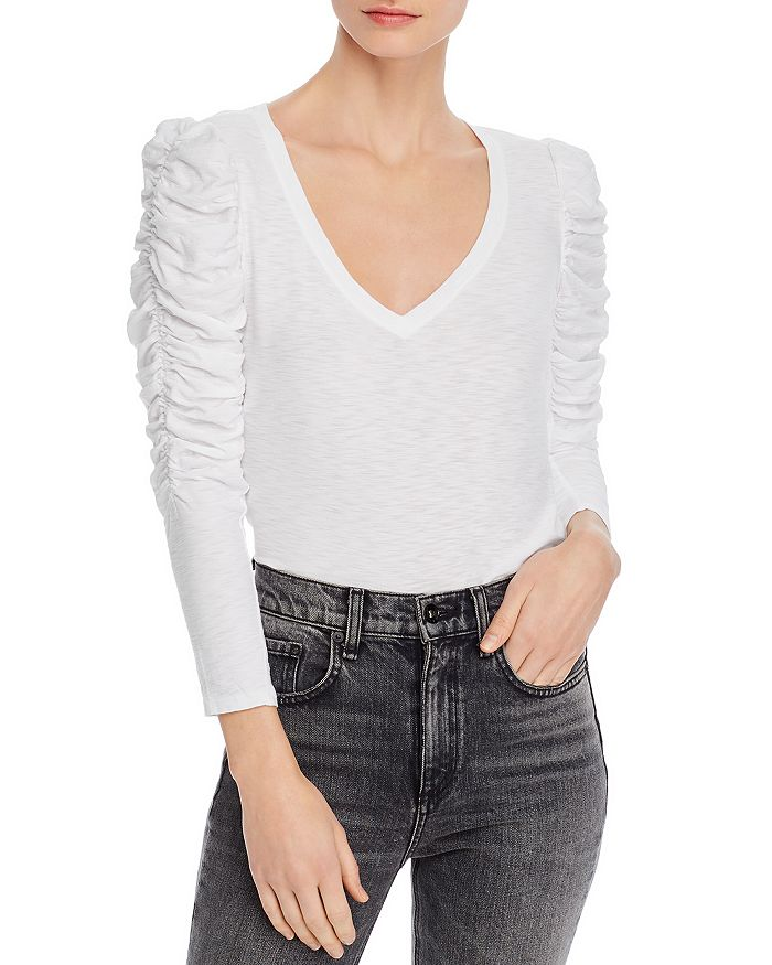 Nation Ltd Kristen Ruched-Sleeve V-Neck Top