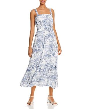Belted Toile Print Midi Dress