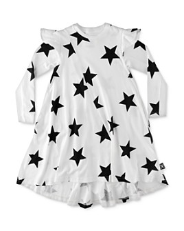 NUNUNU - Girls' Ruffled 360 Star Print Dress - Big Kid