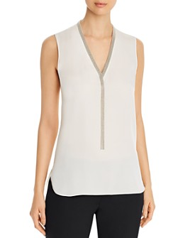 Elie Tahari - Emamra Chain-Link-Detail Sleeveless Top