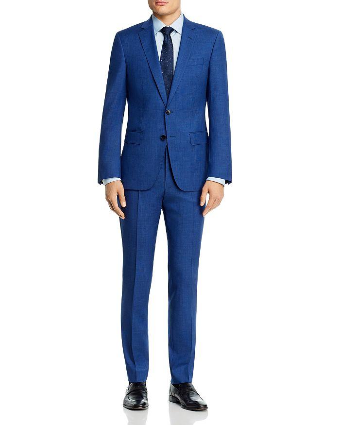 BOSS - Huge/Genius Wool Blue Micro-Houndstooth Slim Fit Suit