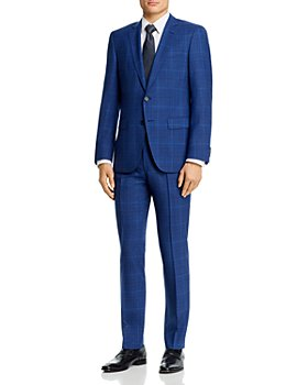 BOSS - Huge/Genius Wool Blue Tonal Plaid Slim Fit Suit