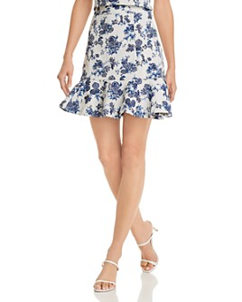 AQUA - Floral-Jacquard Ruffle Mini Skirt - 100% Exclusive