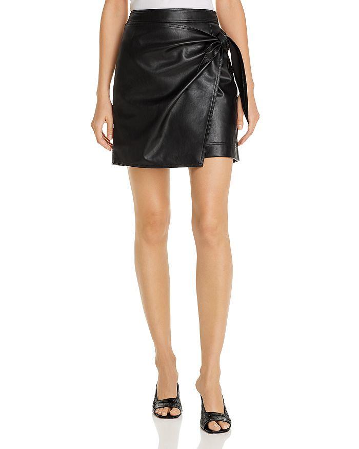 AQUA - Faux-Leather Faux Wrap Skirt - 100% Exclusive