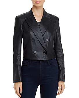 Lucy Paris - Cropped Faux-Leather Blazer - 100% Exclusive
