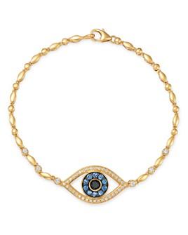 Bloomingdale's - Blue Sapphire & Black & White Diamond Evil Eye Bracelet in 14K Yellow Gold - 100% Exclusive