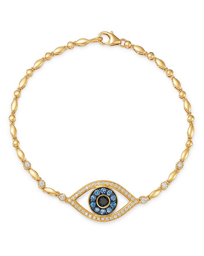 Bloomingdale's - Blue Sapphire & Black & White Diamond Evil Eye Bracelet in 14K Yellow Gold - 100% Exclusive