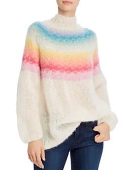 Rose Carmine - Mock-Neck Rainbow-Striped Sweater