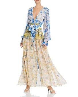 Rococo Sand - Mixed-Print Belted Dress