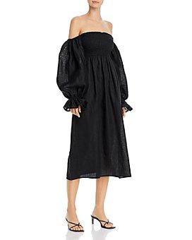 Sleeper - Smocked Ruffled-Cuff Dress