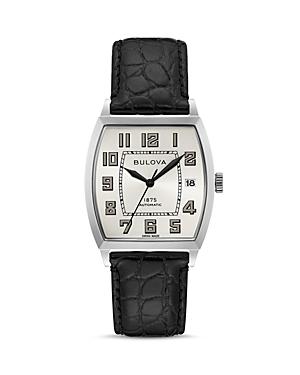 Banker Black Alligator-Embossed Leather Strap Watch