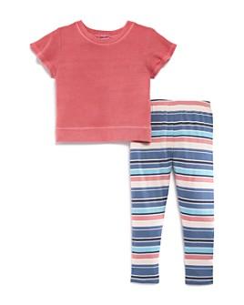 Splendid - Girls' 2-Pc. Flutter-Sleeve Top & Striped Leggings Set - Little Kid