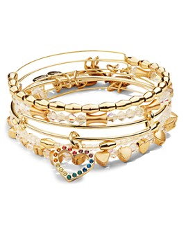 Alex and Ani - Crystal Infusion Rainbow Heart Bracelets, Set of 5