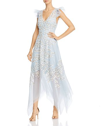 BCBGMAXAZRIA - Floral Appliqué Midi Dress