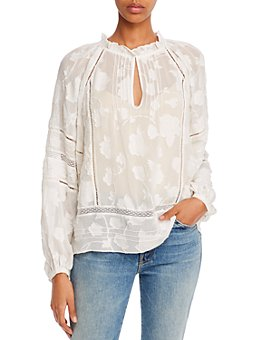 Joie - Chaylse Floral-Embroidery Lace-Trim Blouse