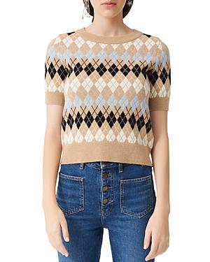 Maje Mina Short-Sleeve Argyle Sweater-Women
