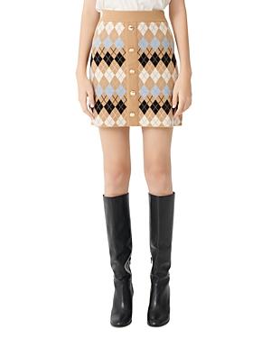 Maje Jilina Argyle Knit Mini Skirt-Women