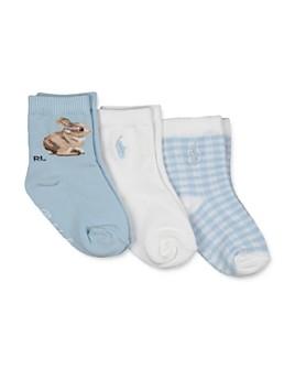 Ralph Lauren - Boys' Bunny Gingham Socks, 3 Pack - Baby