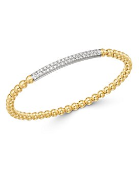 Bloomingdale's - Diamond Bar Beaded Stretch Bracelet in 14K Yellow Gold & 14K White Gold, 0.50 ct. tw. - 100% Exclusive