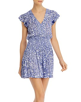 Poupette St. Barth - Floral-Print Ruffled Mini Shirtdress