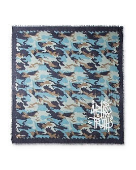 Zadig & Voltaire - Camouflage-Print Graffiti-Graphic Scarf
