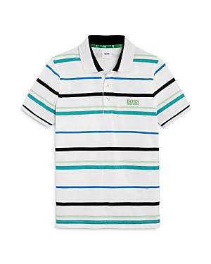 'Boss Hugo Boss Boys' Striped Logo Polo Shirt- Little Kid, Big Kid