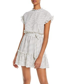 AQUA - Printed Ruffled Mini Dress