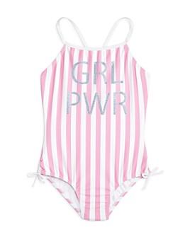 Limeapple - Girls' Olive Rhinestone Graphic Swimsuit - Little Kid