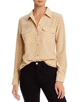 Equipment - Slim Signature Silk Dot Shirt