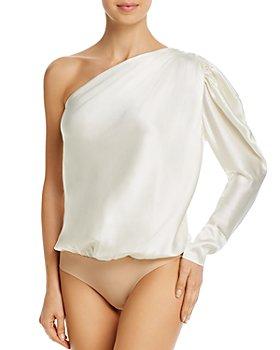 ALIX NYC - Dakota One-Shoulder Puffed-Sleeve Silk Bodysuit