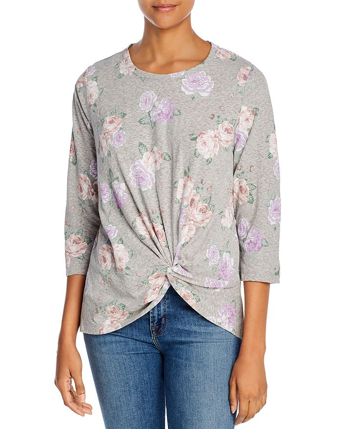 Alison Andrews Leopard Print Twist-front Top In Cabbage Bouquet