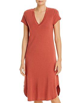 Three Dots - V-Neck Midi Dress