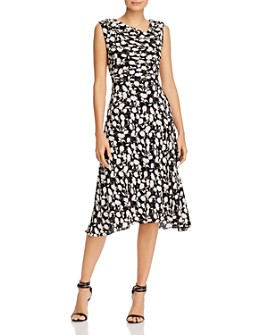 Adrianna Papell - Floral Print Asymmetric-Neck Midi Dress
