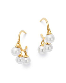 Zoë Chicco - 14K Yellow Gold Cultured Freshwater Pearl Hoop Earrings