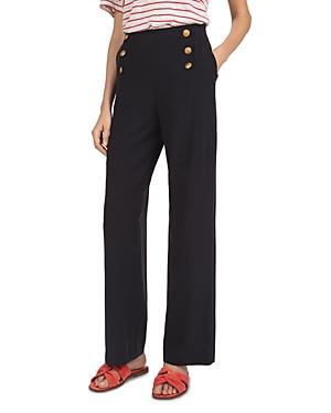 Gerard Darel Button-Front High-Waist Wide-Leg Pants