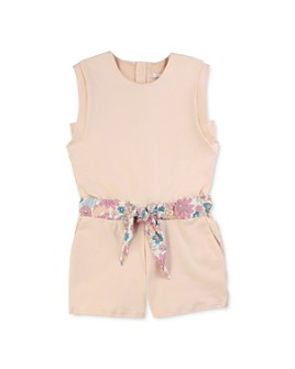 Chloé - Girls' Cotton Floral Print Belted Romper - Little Kid, Big Kid