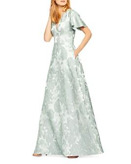 Aidan Mattox - Floral Jacquard Flutter-Sleeve Gown