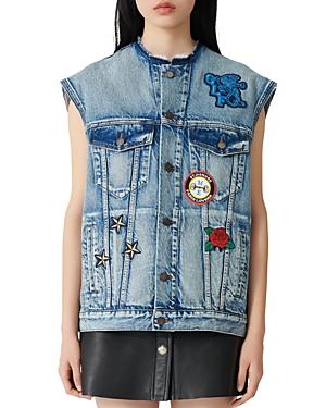 Maje Basta Denim Sleeveless Jacket-Women