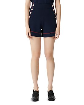 Maje - High-Waist Side-Button Cotton Shorts