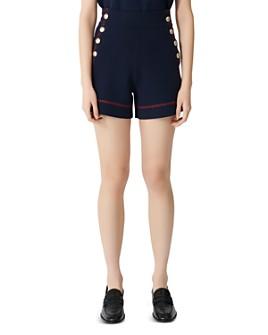 Maje - High-Waist Side-Button Cotton Shorts