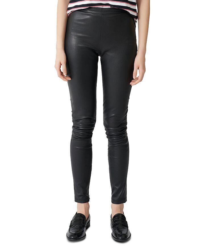 Maje Smarto Leather Leggings In Black