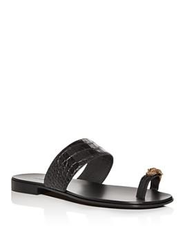 Giuseppe Zanotti - Men's Croc-Embossed Leather Slide Sandals