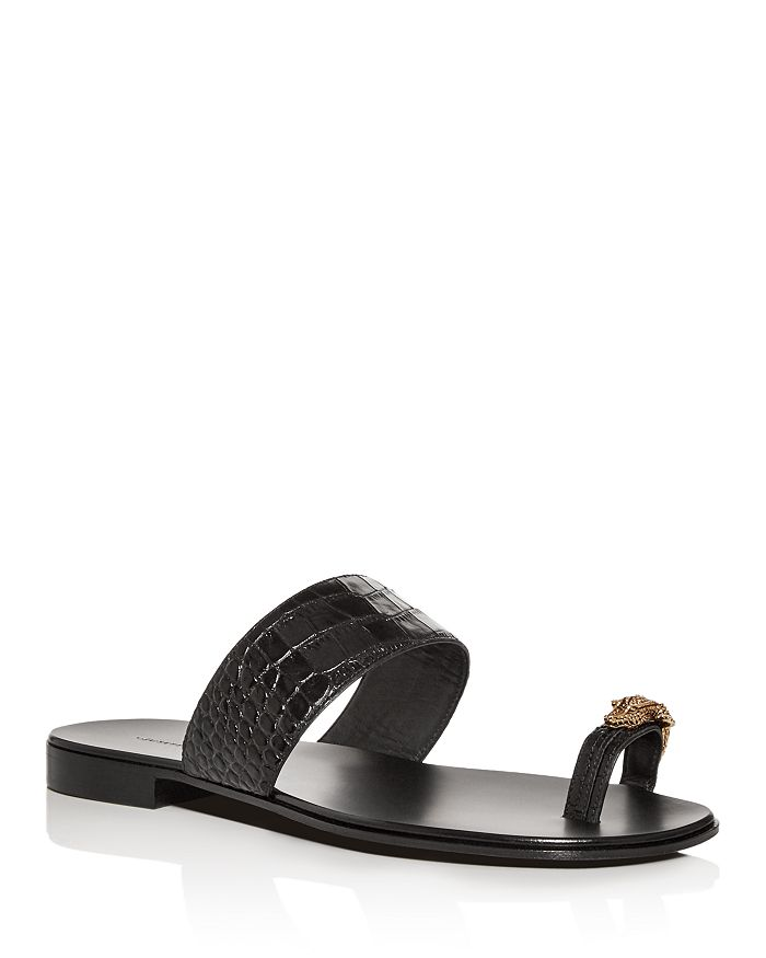 Giuseppe Zanotti - Men's Croc-Embossed Leather Slide Sandals