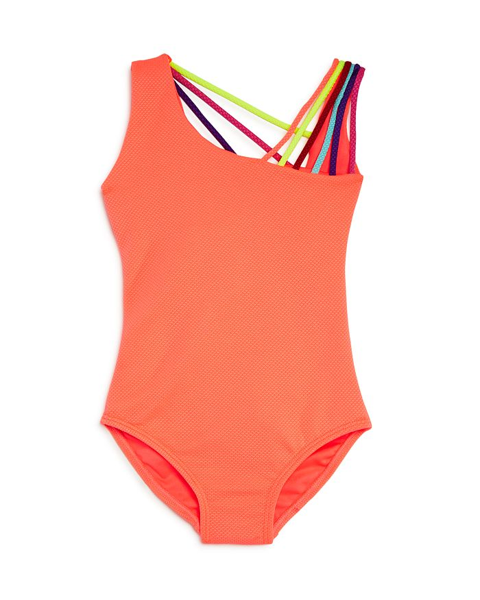 Peixoto Kids' Girls' Asymmetric Rainbow-strap 1-piece Swimsuit - Little Girls, Big Girls In Coral
