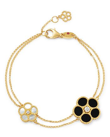 Roberto Coin - 18K Yellow Gold Black Onyx, Mother-Of-Pearl & Diamond Flower Double-Row Bracelet - 100% Exclusive