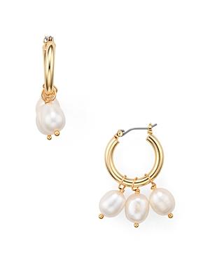 Aqua Cultured Freshwater Pearl Hoop Earrings - 100% Exclusive