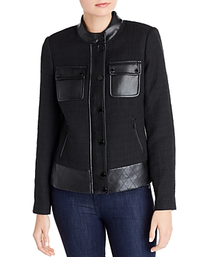Karl Lagerfeld Paris Tweed & Faux Leather Jacket-Women