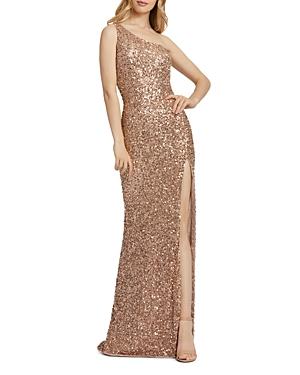 Mac Duggal One-Shoulder Beaded Gown-Women